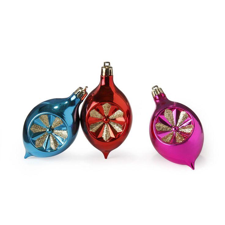 Lot de 3 suspensions colorées Bleu, rouge et rose - Color Pop - Les suspensions de Noël - Les décorations du sapin - Noël - Décoration d'intérieur - Alinéa