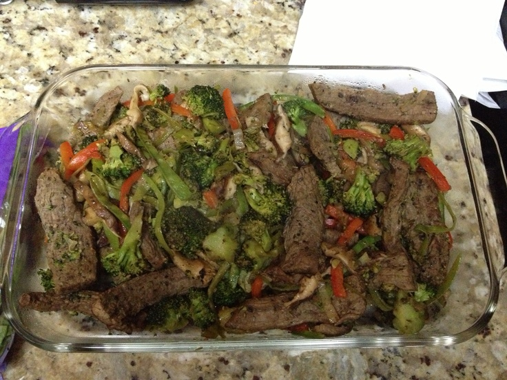 ... pepper) Flank Steak stir fry with broccoli, mushrooms, red bell pepper