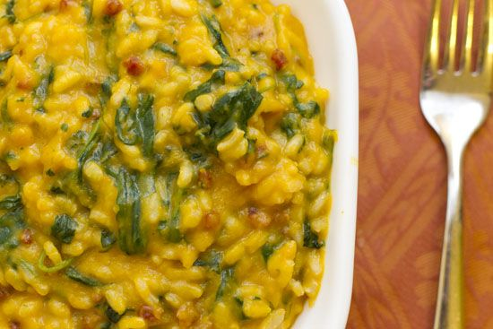 Butternut Squash and Goat Cheese Risotto with Pancetta