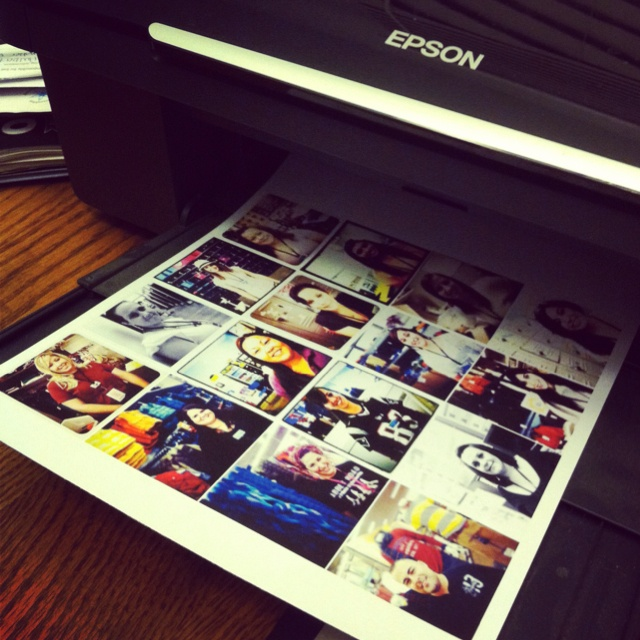 Printing out iPhone instagram photos on magnet paper for my employees lockers. Super easy. Ideas from www.photojojo.com