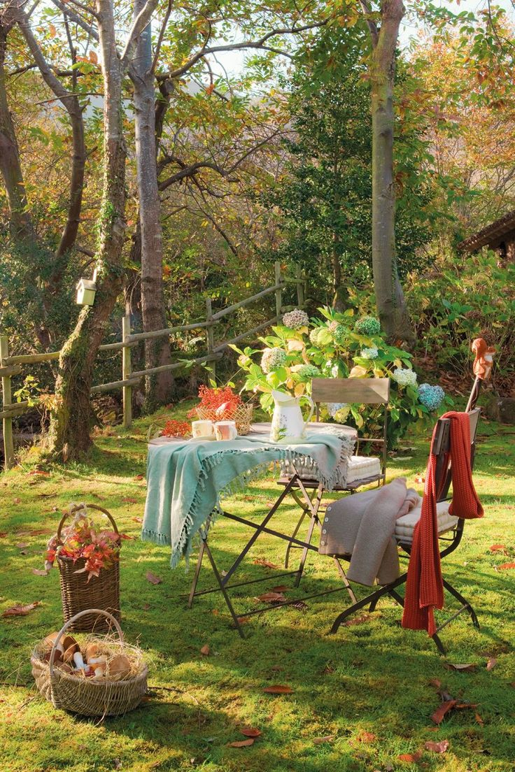 Spring picnic in the garden