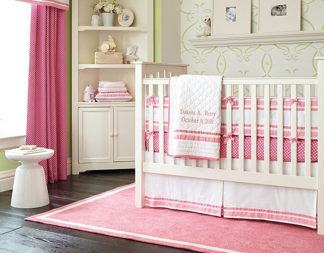 Pottery Barn Kids Harper & Mini Dot Nursery on potterybarnkids.com  I love this bedding in the light pink with the chevron sheets