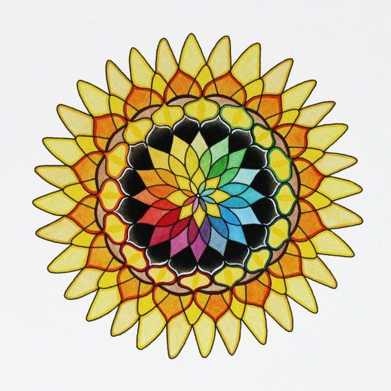 Sunflower Mandala Giclee Print of an Original by KeelyFinnegan, $20.00