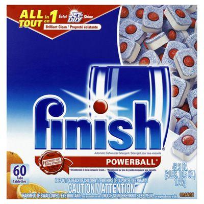 Finish Powerball Dishwashing Tabs Orange 60 Count Blast