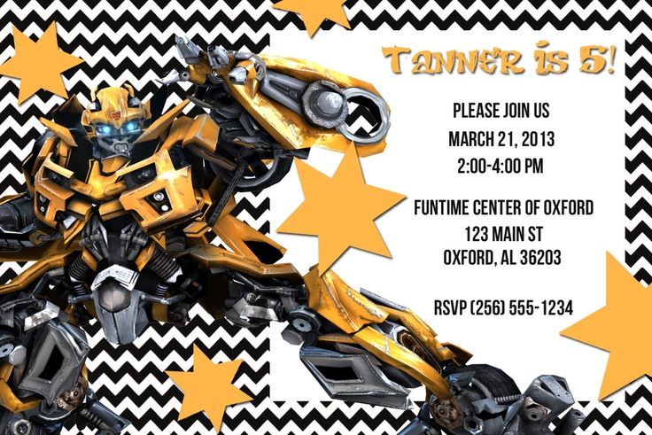 Digital Printable Transformers Invitation