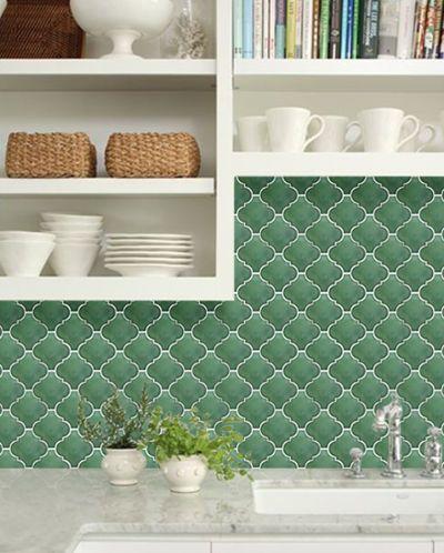 green arabesque tile backsplash arabesque moroccan tile pinterest