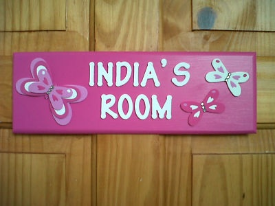Baby girls personalised pink butterfly name plaque bedroom d