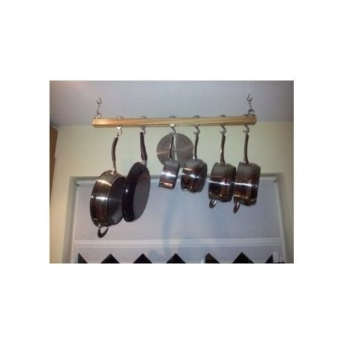 Mount Rack Pot Kitchen Storage Ceiling Hanger Wooden Pan