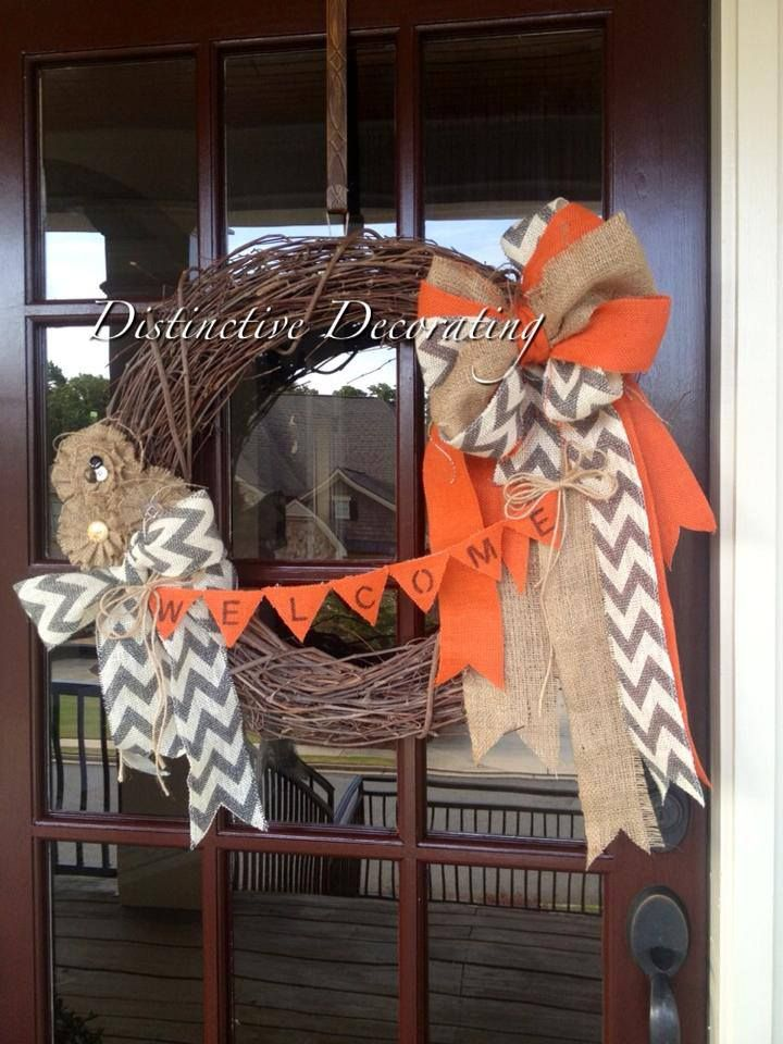 "fall grapevine wreath with burlap embellishments ""welcome"""