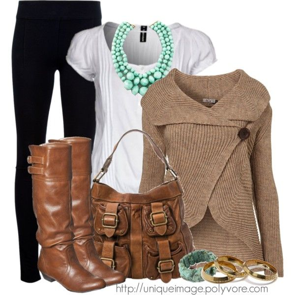 Cross Button Cardigan (great boots and bag too!)...