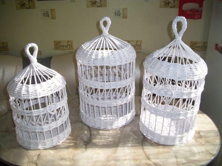 Плетение клеток из газетных трубочек