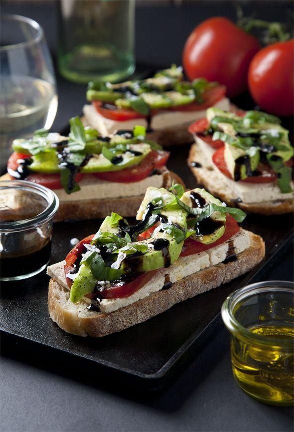 open faced vegan caprese salad sandwiches vegan caprese tartine ...
