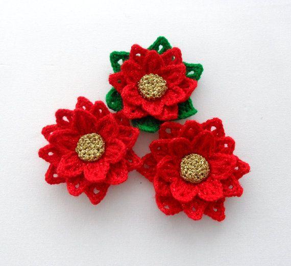 Crochet Xmas Flower Pattern : Crochet Applique - Poinsettia Flower - Christmas Flower ...