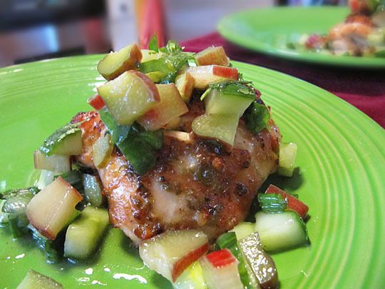 Spicy Chicken Thighs with Rhubarb-Cucumber Salsa Ingredients: 1 ...