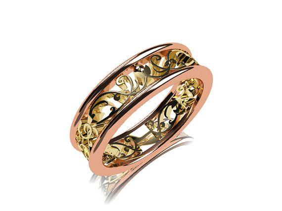 two tone filigree wedding band gold yellow gold