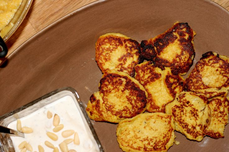 butternut squash latkes with sage and pine nut yogurt sauce from eat ...
