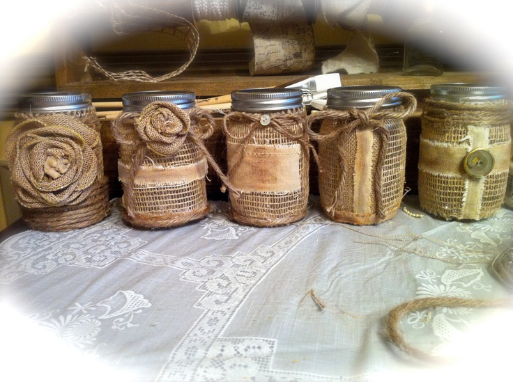 Mason jars burlap and canvas great christmas idea fill for What to fill mason jars with for christmas