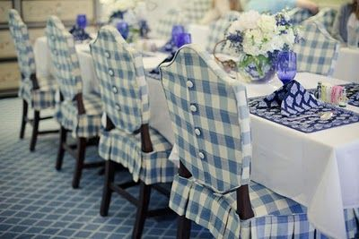 blue & white buffalo gingham check slip-cover/upholstery for dining chairs  --  a beautiful cliche