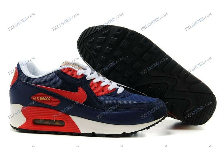 Mens Nike Air Max 90 Shoes Dark Blue Red White cheapest nike shoes