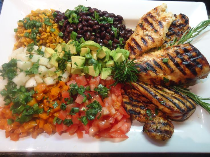 Orange rosemary chicken with grilled southwestern salad and citrus ...