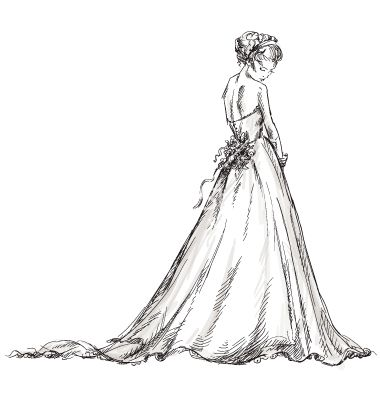 Bride beautiful young girl in a wedding dress vector by kamenuka on