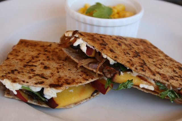 Peach and Goat Cheese Quesadillas with Caramelized Onions, Black Beans ...