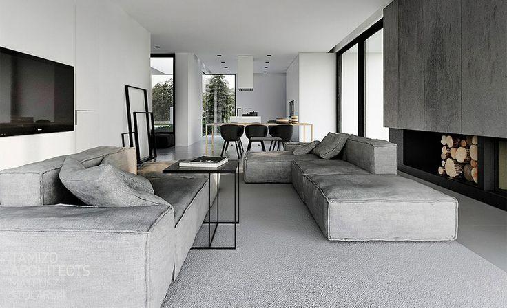 Strak interieur in mooie grijstinten : Woontrend; Strak Modern ...