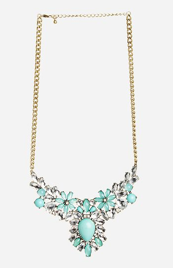 DAILYLOOK Antiqued Floral Gem Necklace in Mint