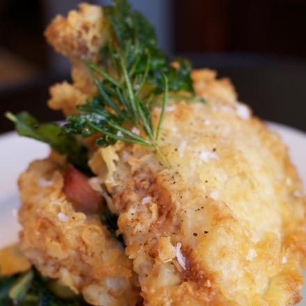 Fried chicken with feathery-crisp breading and a light lemon-rosemary ...