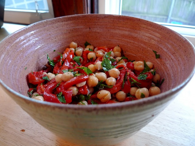 Chickpea Salad w. Roasted Red Peppers & Capers. * super yummy