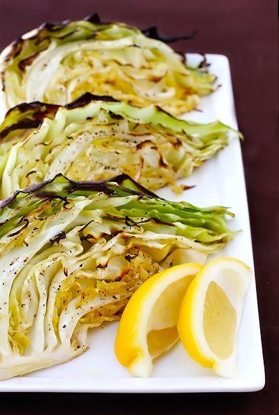 Roasted Cabbage Wedges 1 head green cabbage olive oil + seasoned salt+ ...