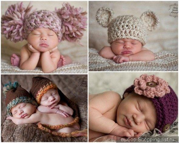 Шапочки связанные для новорожденных своими руками