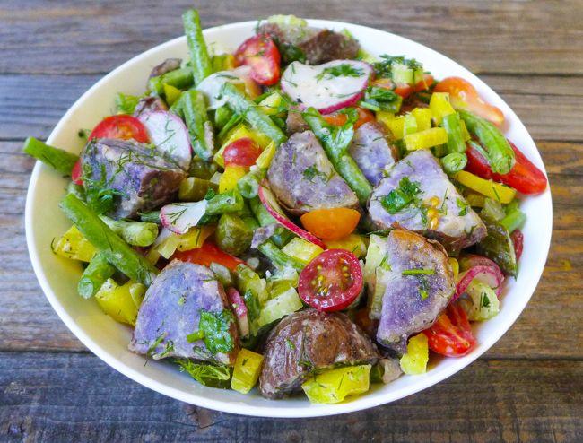 Roasted purple potato salad