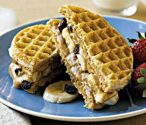 Whole Wheat Waffle and Peanut Butter Sandwich