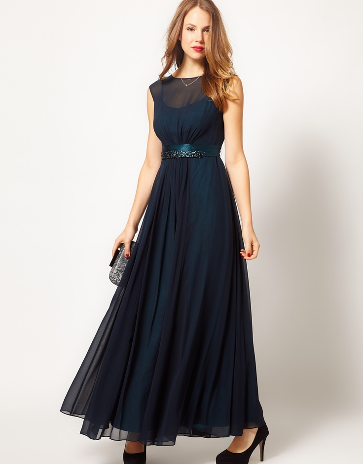 Midnight blue evening bridesmaid 39 s dress ideas for my for Midnight blue wedding dress