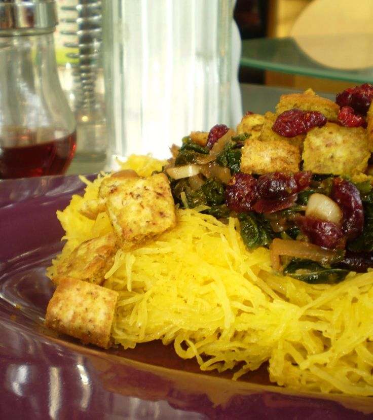 Spaghetti Squash with Caramelized Onions, Greens, Dried Cranberries ...