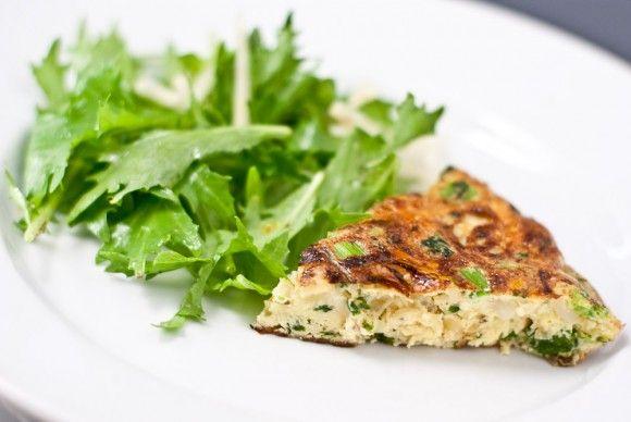 Frittata -eggs, green onion, broccoli rabe or beet greens. Delicious!