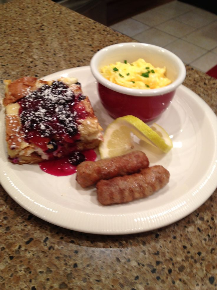 Blueberry stuffed french toast, cotton palace eggs and sausage