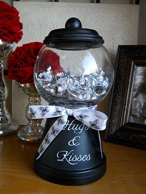 Terra Cotta Pots + Glass Bowl From The Dollar Store + Spray Paint + A Cute Bow! What A Great Gift To Make For The Holidays