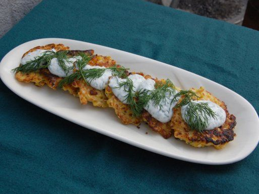Spicy Corn Pancakes with Dill Yogurt | appetizer | Pinterest