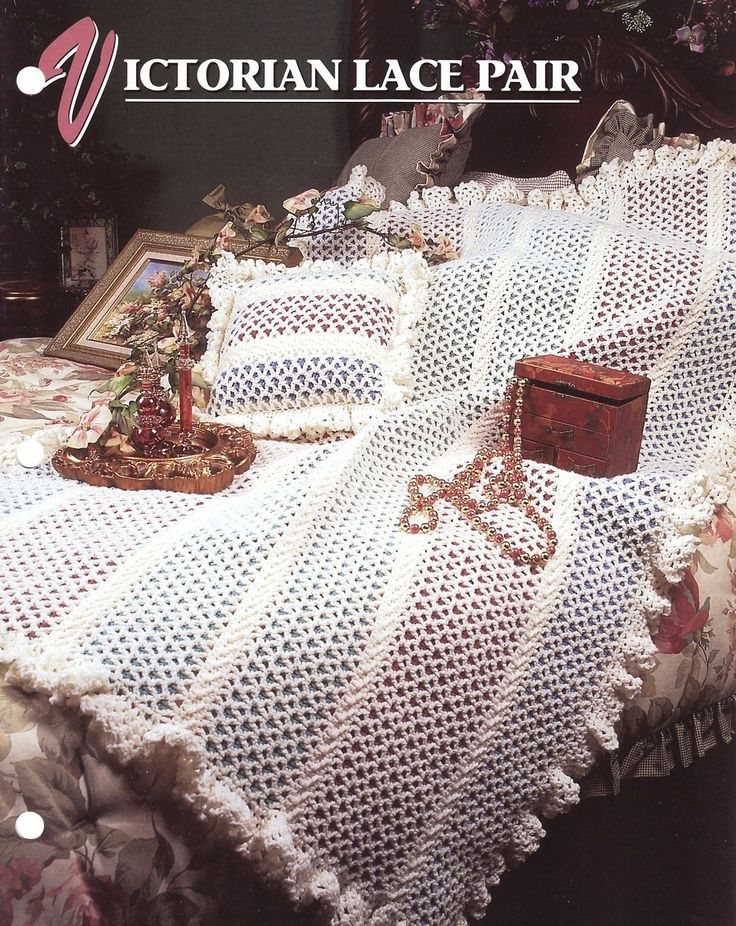 Free Victorian Lace Crochet Patterns : Victorian Lace Pair Afghan Crochet Pattern & Pillow Annies