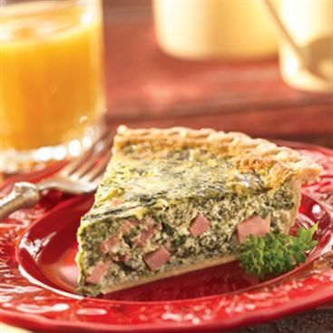 Spinach Quiche made with eggs, cream cheese, ham, green onions and ...