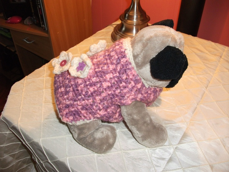 XS Custom Fit Crochet Dog Sweater with Flowers. $17.00, via Etsy.