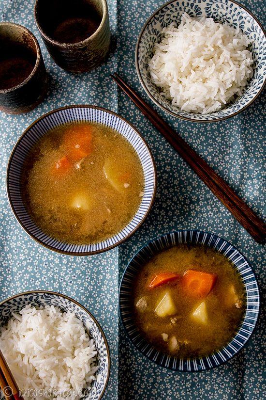 Tonjiru (Japanese pork miso soup), westernized (special ingredients ...