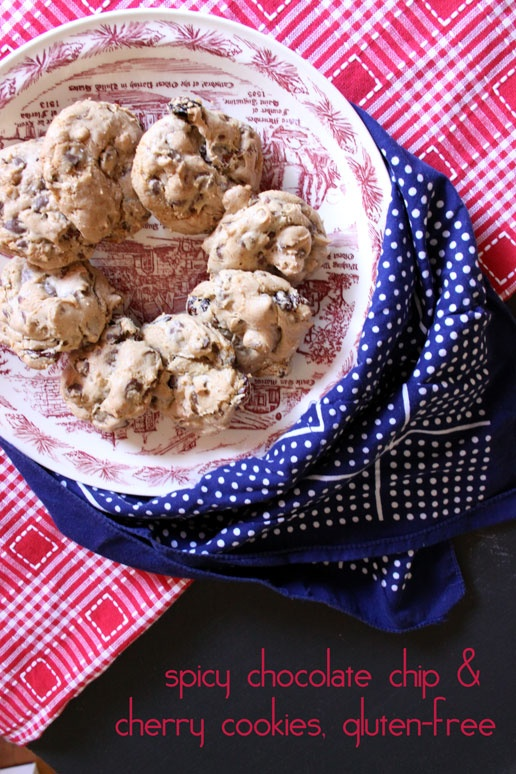 spicy chocolate chip cookies and cherry cookies, gluten free