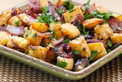 Roasted Sweet Potatoes Recipe with Red Onions, Rosemary, and Parmesan