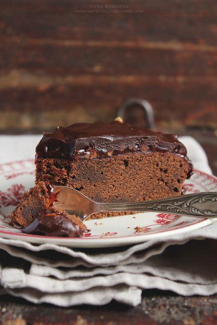 Chocolate cake with raspberry jam and nuts - MMMMMMMM