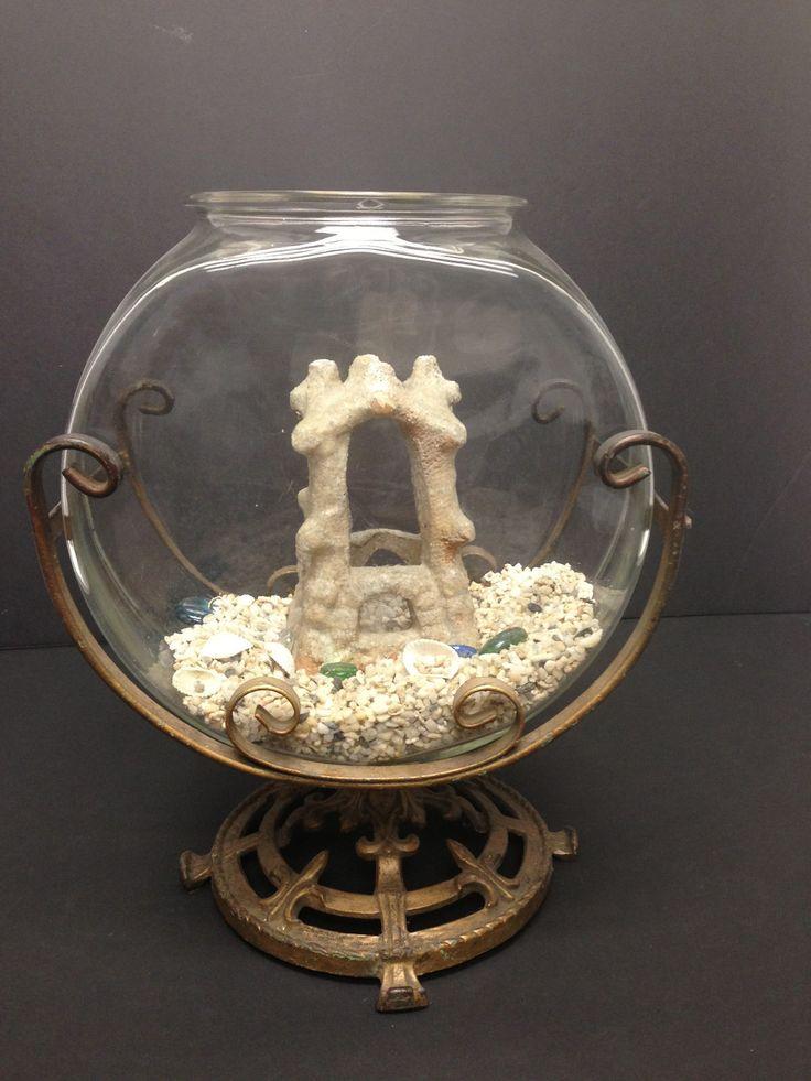 Vintage aquarium 1920 39 s fish bowl table top with iron for Fish bowl aquarium