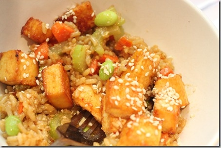 General Tso's Tofu with Fried Rice... Uses pre-made sauce! Already ...