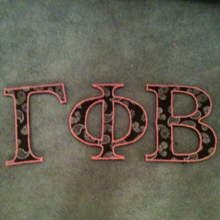 Gamma Phi Beta letters  Fabric glued onto wooden letters  Pink ribbon    Gamma Phi Beta Wooden Letters